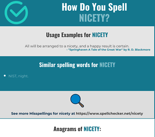 Correct spelling for nicety