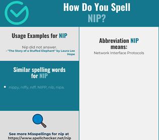Correct spelling for nip