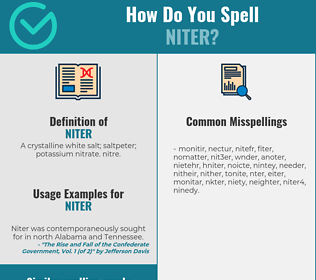 Correct spelling for niter