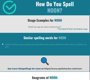 Correct spelling for noon