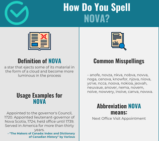Correct spelling for nova