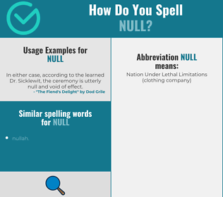 Correct spelling for null