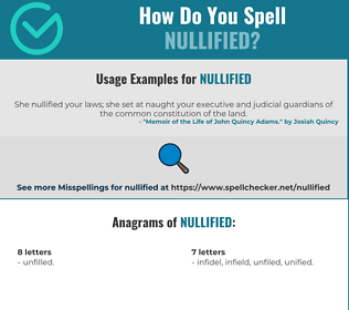 Correct spelling for nullified