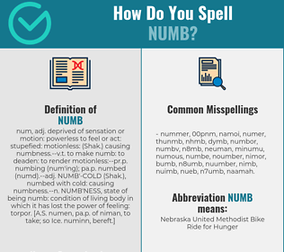 Correct spelling for numb