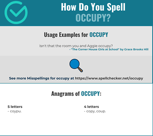 Correct spelling for occupy