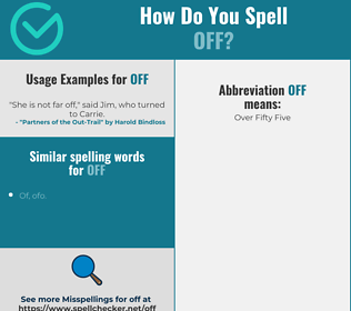 Correct spelling for off