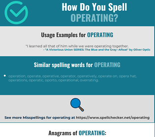 Correct spelling for operating