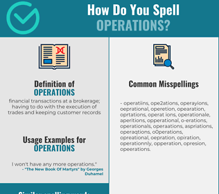 Correct spelling for operations