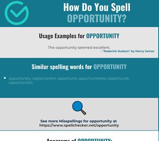 Correct spelling for opportunity