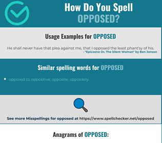 Correct spelling for opposed