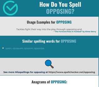 Correct spelling for opposing