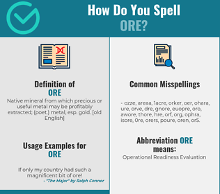 Correct spelling for ore