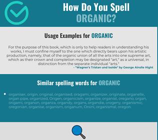 Correct spelling for organic