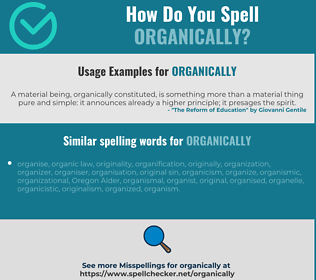 Correct spelling for organically