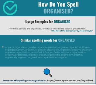 Correct spelling for organised