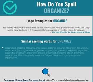 Correct spelling for organize