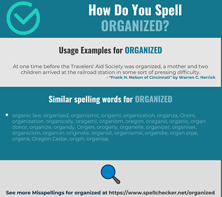 Correct spelling for organized