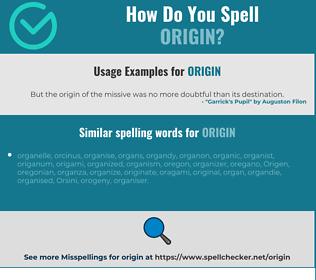 Correct spelling for origin