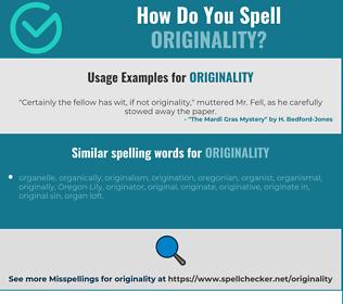 Correct spelling for originality