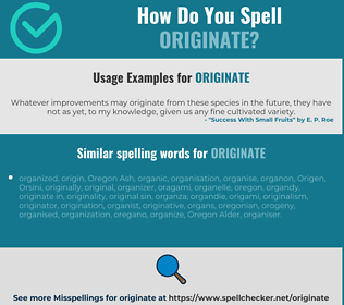 Correct spelling for originate