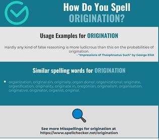 Correct spelling for origination