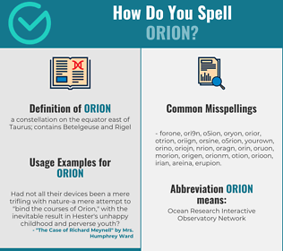 Correct spelling for orion