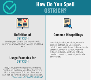 Correct spelling for ostrich