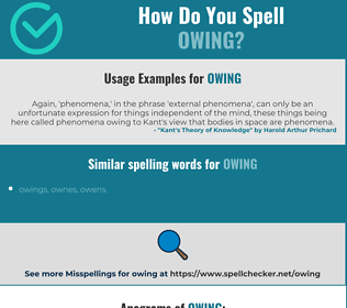 Correct spelling for owing