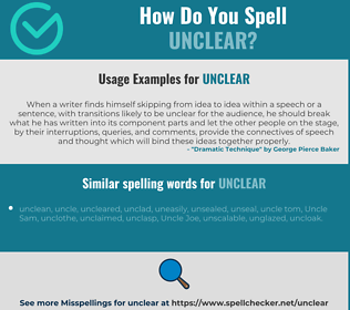 Correct spelling for unclear
