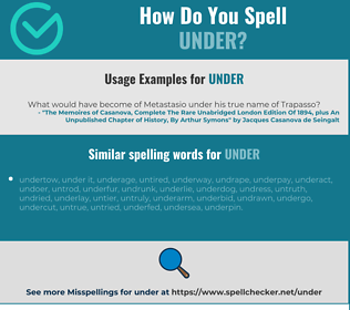 Correct spelling for under