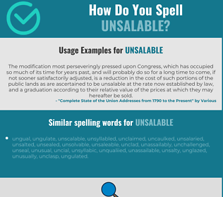 Correct spelling for unsalable