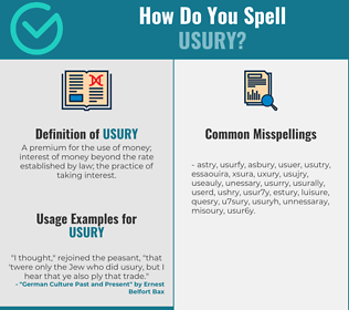 Correct spelling for usury
