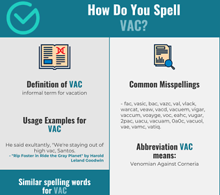 Correct spelling for vac
