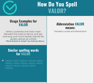 Correct spelling for valor