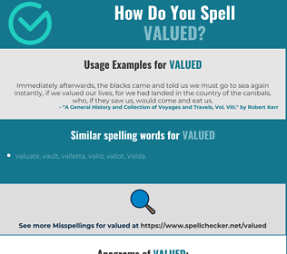 Correct spelling for valued