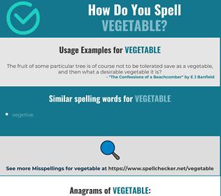 Correct spelling for vegetable