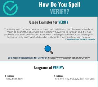Correct spelling for verify