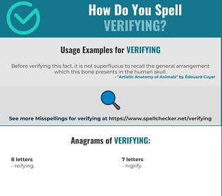 Correct spelling for verifying
