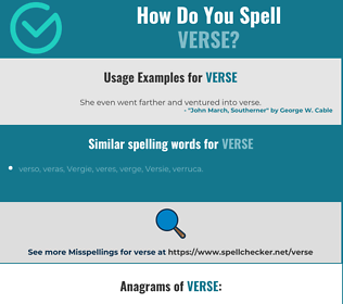 Correct spelling for verse