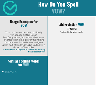 Correct spelling for vow
