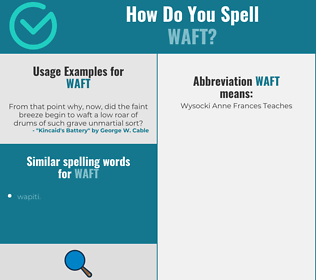 Correct spelling for waft