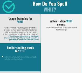 Correct spelling for whit