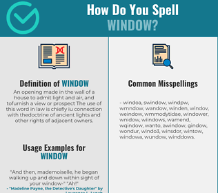Correct spelling for window
