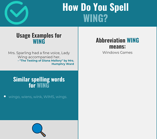 Correct spelling for wing