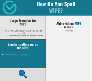 Correct spelling for wipe