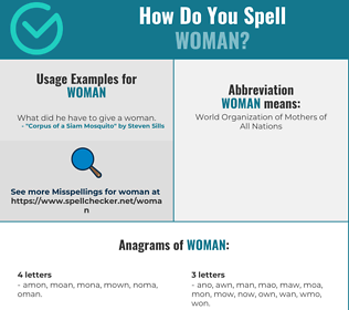 Correct spelling for woman