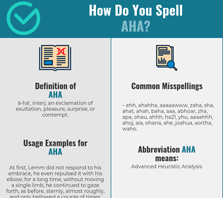 Correct spelling for Aha
