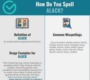 Correct spelling for Alack