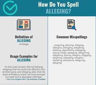 Correct spelling for Alleging