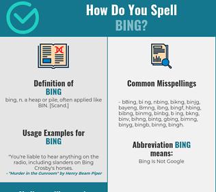 Correct spelling for Bing